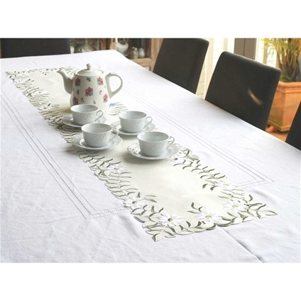 Embroidered Daisy Table Runner